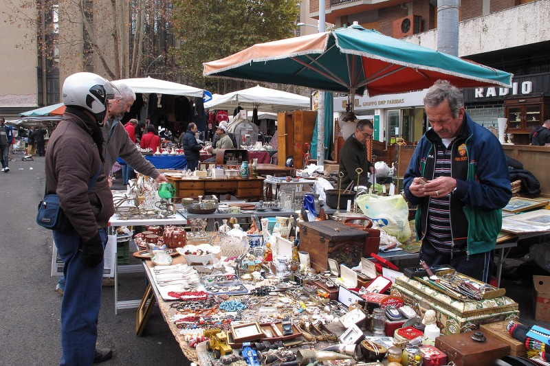 Scene of the traditional flea market of Porta Portese in Rome, Italy
